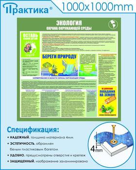 Стенд экология - с87 (1000х1000 мм, пластик ПВХ 4 мм,пластиковый багет) - Стенды - Стенды по экологии - vektorb.ru