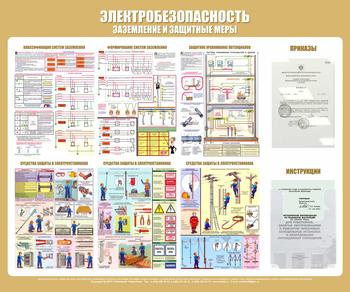 Стенд электробезопасность (заземление и защитные меры) (1200х1000 мм, карманы, белый пластиковый багет) - Стенды - Стенды по электробезопасности - vektorb.ru