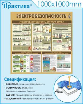Стенд электробезопасность (1000х1000 мм, пластик ПВХ 4мм, белый пластиковый багет) - Стенды - Стенды по электробезопасности - vektorb.ru