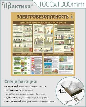 Стенд электробезопасность (1000х1000 мм, пластик ПВХ 4 мм, алюминиевый багет серебряного цвета) - Стенды - Стенды по электробезопасности - vektorb.ru