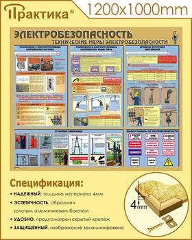 Стенд электробезопасность (технические меры электробезопасности)  (1000х1000 мм, пластик ПВХ 4 мм, алюминиевый багет золотого цвета) - Стенды - Стенды по электробезопасности - vektorb.ru