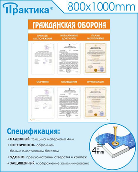Стенд гражданская оборона (800х1000 мм, пластик ПВХ 4мм, белый пластиковый багет) - Стенды - Стенды по гражданской обороне и чрезвычайным ситуациям - vektorb.ru