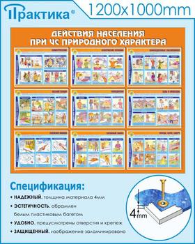 Стенд действия населения при чс природного характера (c53, 1200х1000 мм, пластик ПВХ 4мм, белый пластиковый багет) - Стенды - Стенды по гражданской обороне и чрезвычайным ситуациям - vektorb.ru