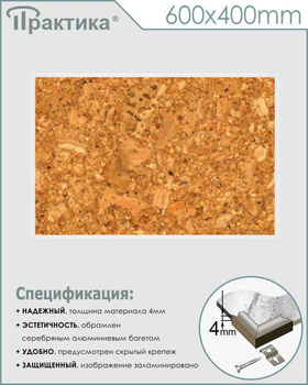 Пробковый стенд (600х400 мм, пластик ПВХ 4 мм, алюминиевый багет серебряного цвета) - Стенды - Информационные стенды - vektorb.ru