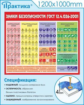 Стенд знаки безопасности (1200х1000 мм, белый пластиковый багет) - Стенды - Стенды по охране труда - vektorb.ru