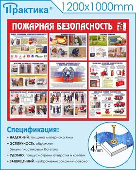Стенд пожарная безопасность (1200х1000 мм, пластик ПВХ 4мм, белый пластиковый багет) - Стенды - Стенды по пожарной безопасности - vektorb.ru