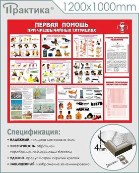 Стенд первая помощь (при чрезвычайных ситуациях) (1200х1000 мм, карманы, пластик ПВХ 4 мм, алюминиевый багет серебряного цвета) - Стенды - Стенды по первой медицинской помощи - vektorb.ru
