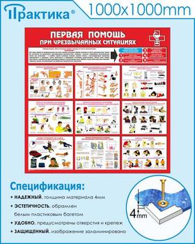 Стенд первая помощь (при чрезвычайных ситуациях) (1000х1000 мм, пластик ПВХ 4мм, белый пластиковый багет) - Стенды - Стенды по первой медицинской помощи - vektorb.ru