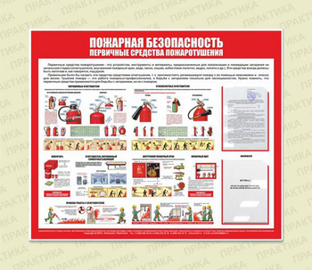 Стенд пожарная безопасность (первичные средства пожаротушения) (1200х1000 мм, белый пластиковый багет, карманы) - Стенды - Стенды по пожарной безопасности - vektorb.ru