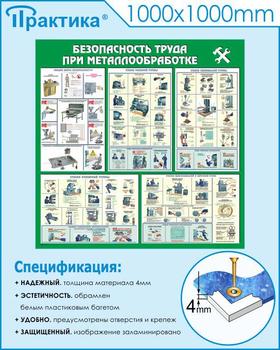 Стенд безопасность труда при металлообработке (c26, 1000х1000 мм, пластик ПВХ 4мм, белый пластиковый багет) - Стенды - Тематические стенды - vektorb.ru