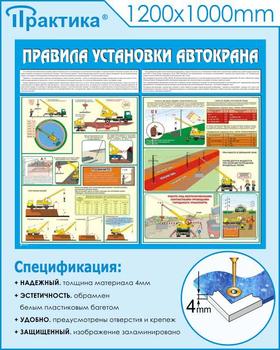 Стенд правила установки автокранов (c33, 1200х1000 мм, пластик ПВХ 4мм, белый пластиковый багет) - Стенды - Тематические стенды - vektorb.ru