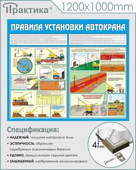 Стенд правила установки автокранов (c33, 1200х1000 мм, пластик ПВХ 4 мм, алюминиевый багет серебряного цвета) - Стенды - Тематические стенды - vektorb.ru