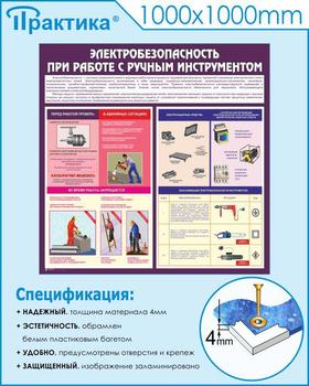 Стенд электробезопасность при работе с ручным инструментом (c34, 1000х1000 мм, пластик ПВХ 4мм, белый пластиковый багет) - Стенды - Тематические стенды - vektorb.ru