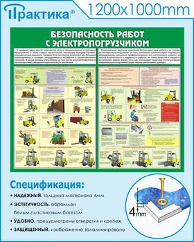 Стенд безопасность работ с электропогрузчиком (c38, 1200х1000 мм, пластик ПВХ 4мм, белый пластиковый багет) - Стенды - Тематические стенды - vektorb.ru