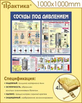 Стенд сосуды под давлением (c42, 1000х1000 мм, пластик ПВХ 4 мм, алюминиевый багет золотого цвета) - Стенды - Тематические стенды - vektorb.ru