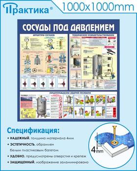 Стенд сосуды под давлением (c42, 1000х1000 мм, пластик ПВХ 4мм, белый пластиковый багет) - Стенды - Тематические стенды - vektorb.ru