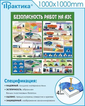 Стенд безопасность работ на автозаправочных станциях (c44, 1000х1000 мм, пластик ПВХ 4мм, белый пластиковый багет) - Стенды - Тематические стенды - vektorb.ru