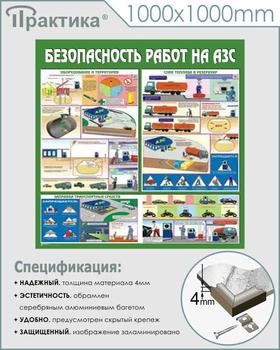 Стенд безопасность работ на автозаправочных станциях (c44, 1000х1000 мм, пластик ПВХ 4 мм, алюминиевый багет серебряного цвета) - Стенды - Тематические стенды - vektorb.ru