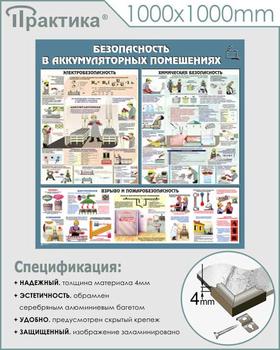 Стенд аккумуляторные помещения (c46, 1000х1000 мм, пластик ПВХ 4 мм, алюминиевый багет серебряного цвета) - Стенды - Тематические стенды - vektorb.ru